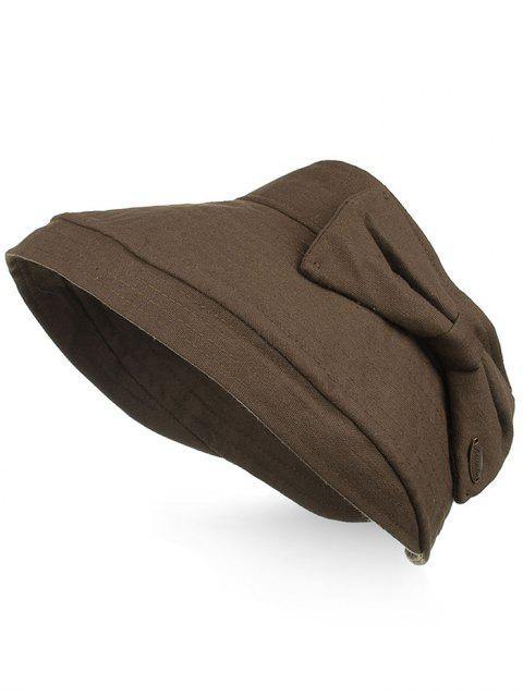 latest Anti UV Bowknot Open Top Foldable Summer Hat - COFFEE  Mobile