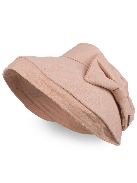 fashion Anti UV Bowknot Open Top Foldable Summer Hat - PINK  Mobile