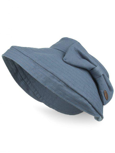 chic Anti UV Bowknot Open Top Foldable Summer Hat - BLUE GRAY  Mobile
