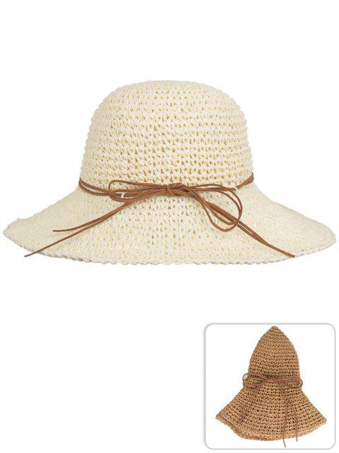 affordable Anti UV Bowknot Foldable Straw Sun Hat - BEIGE  Mobile