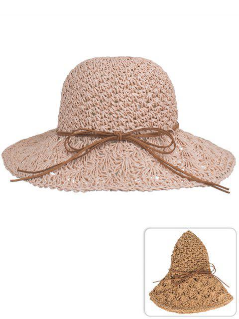 Chapeau de paille à tricoter main anti-UV bowknot - Rose Kaki  Mobile