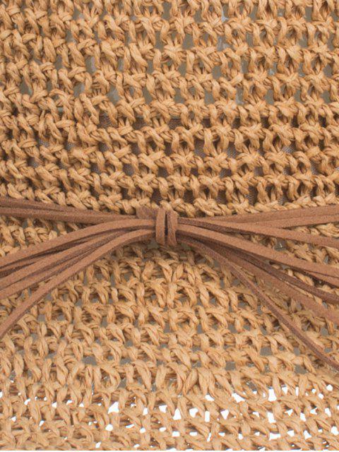 UV-защита Бант Соломенная Шляпа от загара - Светло-коричневый   Mobile