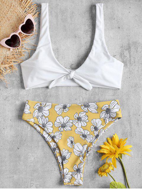 Conjunto de bikini floral de talle alto atado - Blanco M Mobile