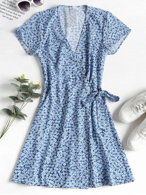 ZAFUL Vestido anudado floral - Azul Aciano L Mobile
