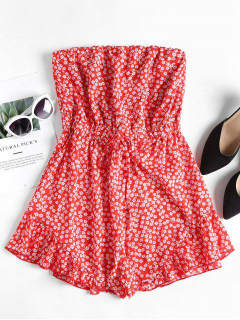 lady Ruffles Floral Strapless Romper - FIRE ENGINE RED S Mobile