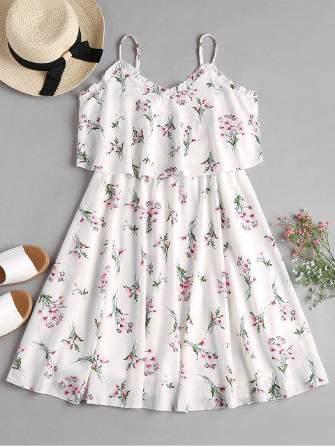 Robe Flottante Superposée en Camisole et Imprimé Floral - Blanc M Mobile