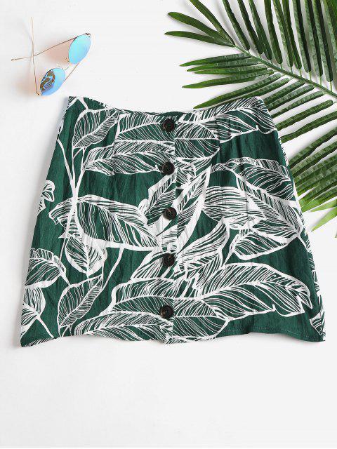 Falda con estampado de hojas - Mar Verde Mediana L Mobile