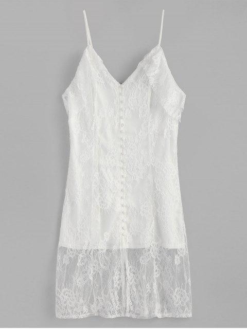 Vestido de encaje con botones en hombros fríos - Blanco S Mobile