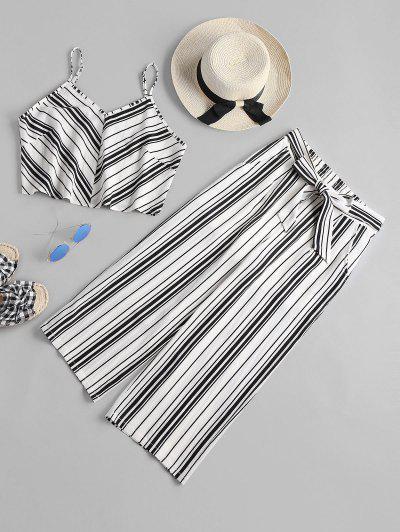 High Waist Striped Pants Set - White M
