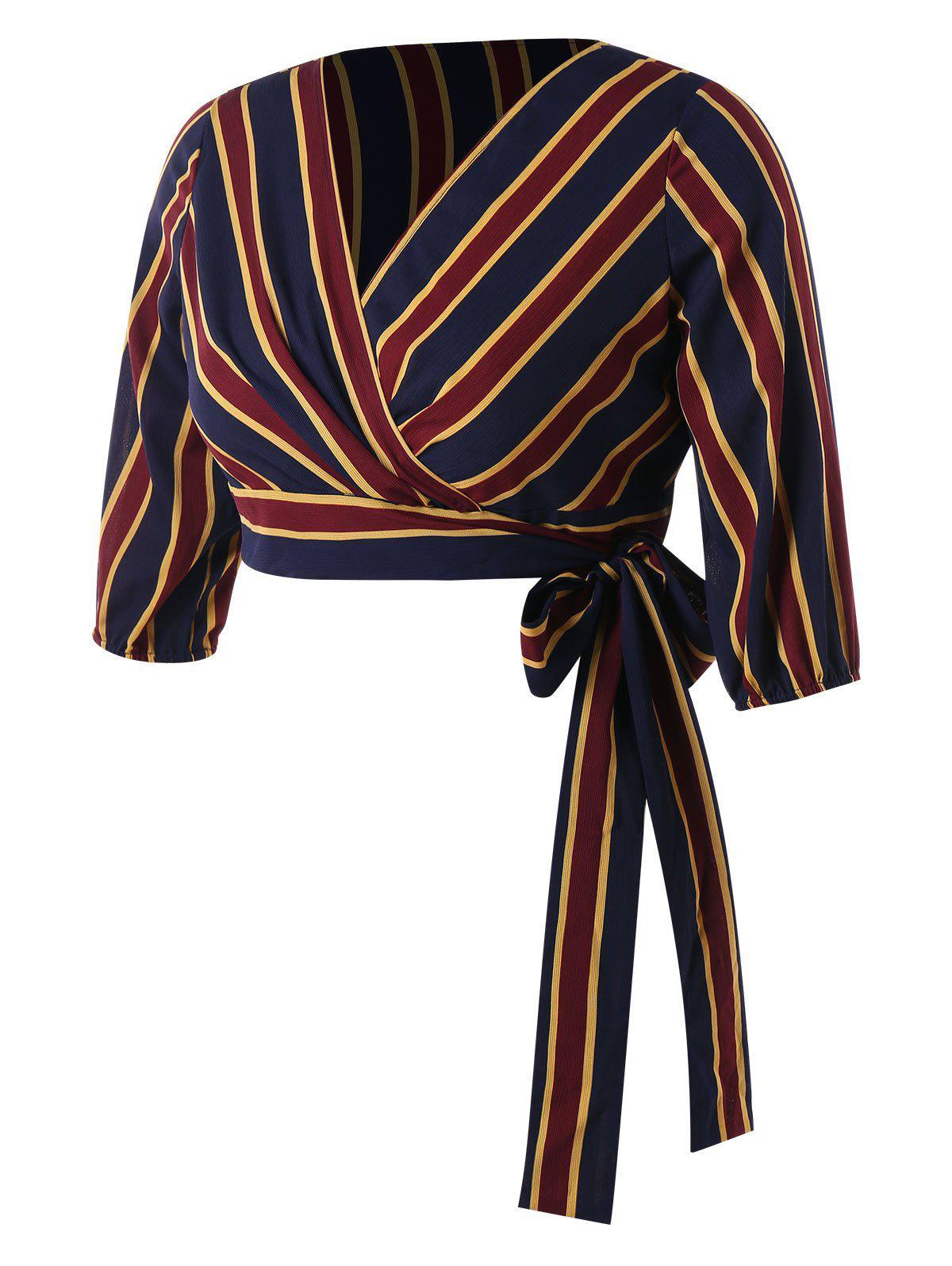 Plus Size Stripe Surplice Tied Top