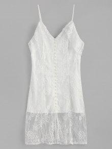 الكتف الباردة المغطاة أزرار الرباط اللباس - أبيض M