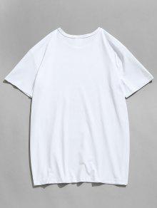 Unidos Printed T Bandera Hand Estados De shirt L Blanco Dollars UUPYXx