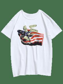 shirt T Hand Bandera De Blanco Unidos Estados Dollars L Printed WqaPYwa0