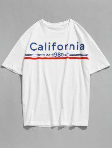 كاليفورنيا رسالة مطبوعة قصيرة الأكمام تي شيرت - أبيض M