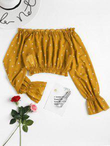 250;s Amarillo Hombro Escolar Blusa Del De L Fuera De Lunares Autob qw8x4fC87