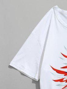 Con Eagle Blanco American Camiseta L Estampado Flying xgqTAAEtpw