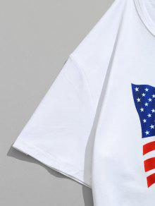De Emblem 225;ticos Con L Camiseta Estampado Bandera La De Estadounidense Blanco Edificios xYwIpq