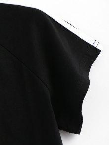 Crop Graphic Graphic Negro Tee Striped Striped YFvWqW