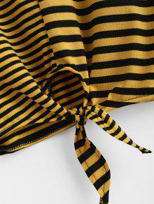 Tee M Stripe De Knot Sol Crop Amarillo 4TWqgwpv