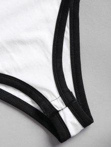 S De Letras Con Body De Corte Blanco Alto Estampado qwX86zf