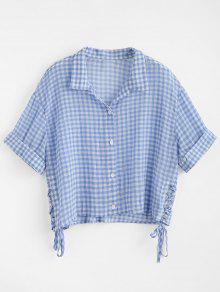 Vichy Escarpado Camisa Corta S Cuadro Azul De zOz7q0