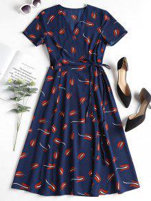 فستان لف مطبوع - ازرق غامق S