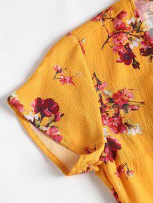 A S Florales De Estampado Amarillo Con Brillante 243;n Botones Presi Vestido RvqZdR