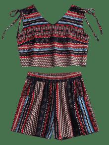 Tribal Mangas Cortos Pantalones Sin S Estampado Con Multicolor qzwx6xfFS
