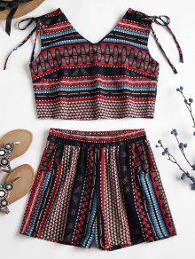 Tribal Sin S Cortos Pantalones Mangas Multicolor Con Estampado aX5n0qn