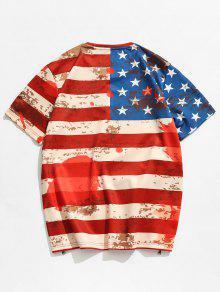 Estadounidense Con Bandera 3D L Camiseta Rojo Cremallera Con Lateral x46wnnqvUZ