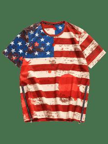 Estadounidense Bandera Lateral Cremallera Camiseta 3D Con L Rojo Con f7Hpnnzwxq