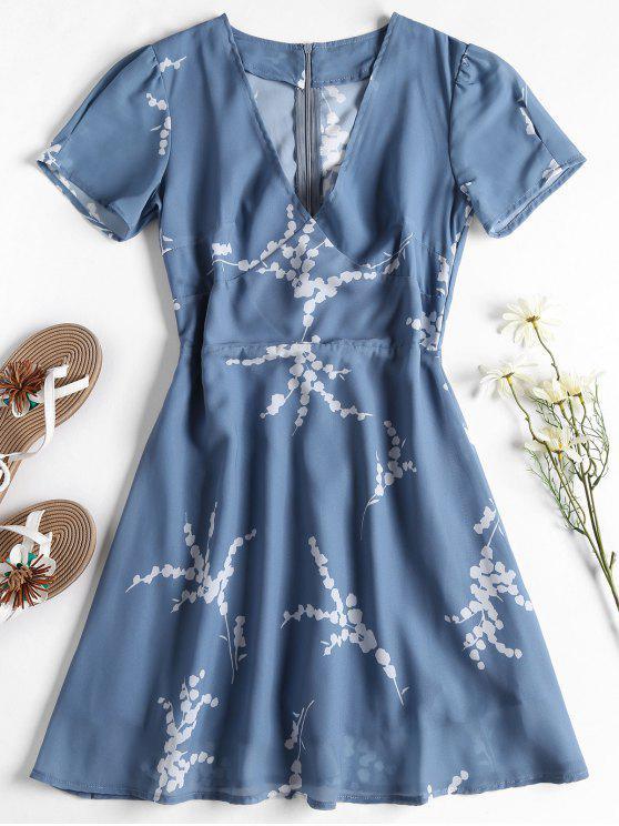 Mini-robe Florale à Fermeture Glissière au Dos - Bleu-gris S