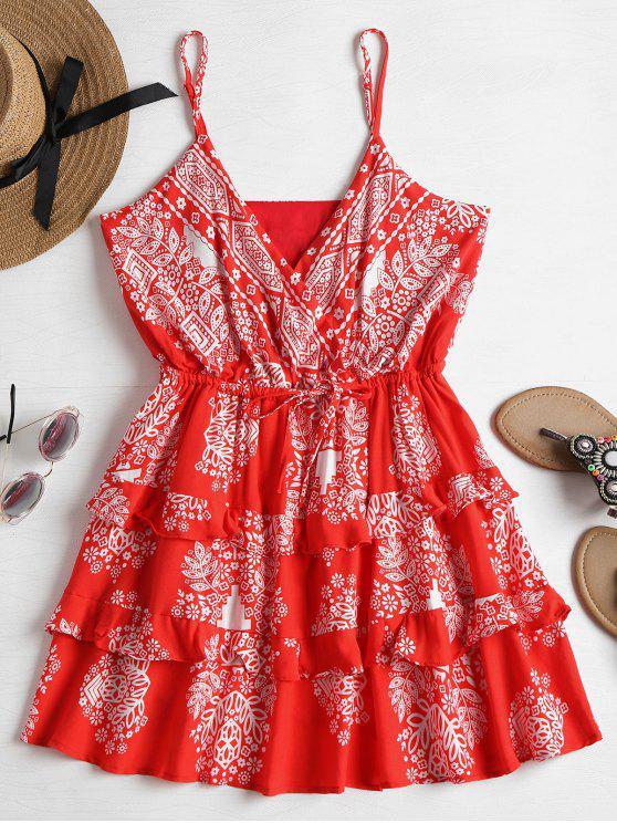 Mini-robe Coulissante Surplissée et à Volants - Rouge Amour M