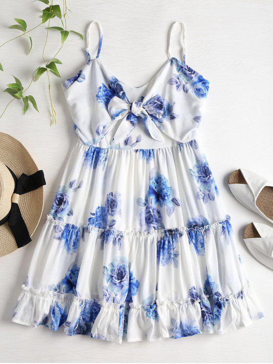 Mini-robe Florale en Camisole et à Volants - Blanc M