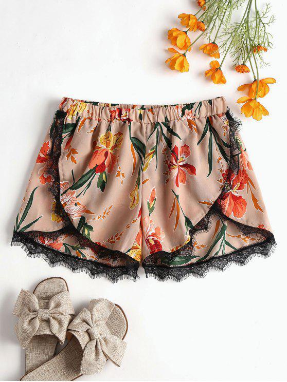Blumenblüten Shorts Mit Spitze Trim - Rosa Kaugummi L
