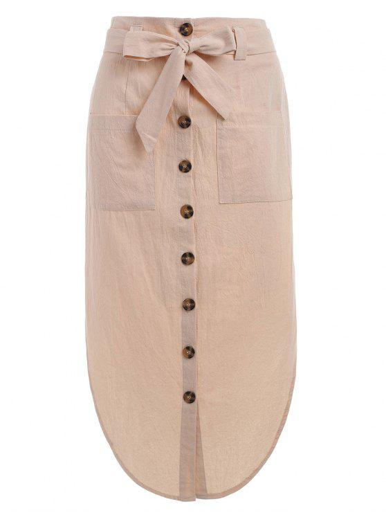 fancy Button Up Belted Skirt - APRICOT M