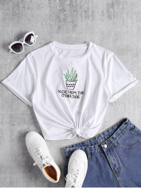 sale Knotted Embroidered Tee - WHITE S