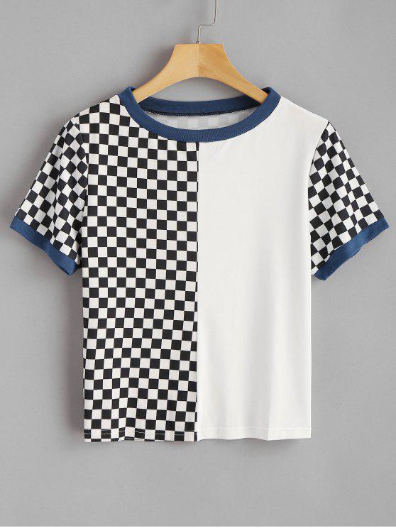 Kariertes Runder Kragen T-Shirt - Weiß XL