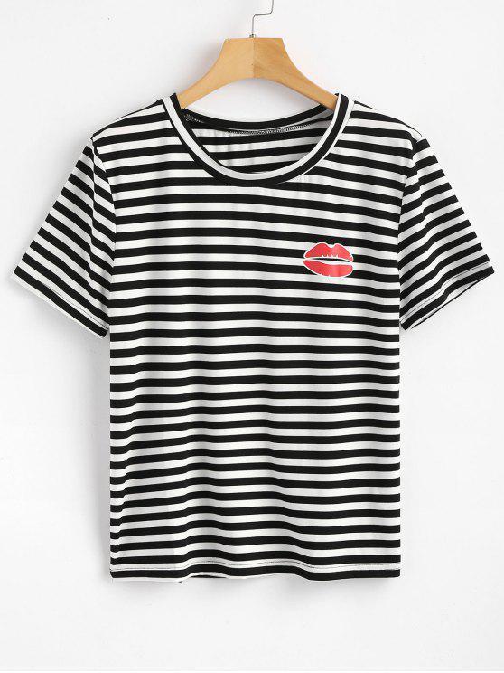Streifen Lippen T-Shirt - Schwarz M