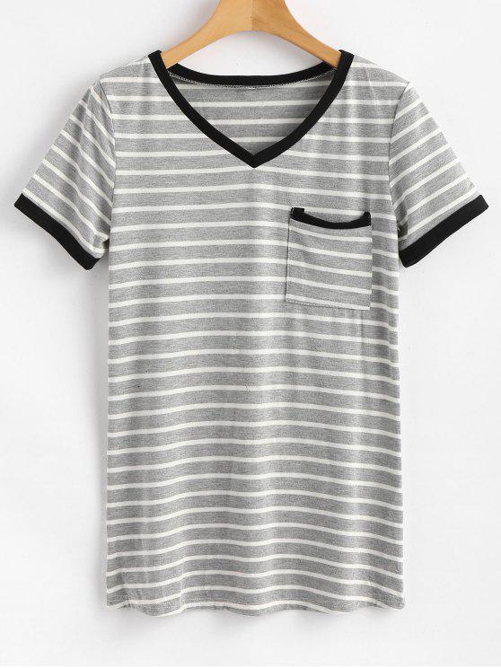 T-shirt A Righe Con Tasca - Grigio L