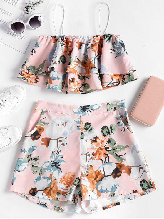 hot Layered Floral Top and Shorts Set - PINK BUBBLEGUM L