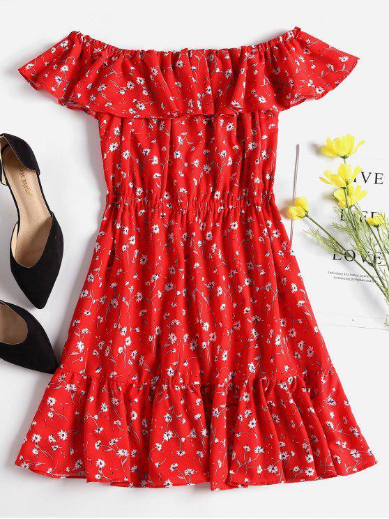 Mini-robe à Volants et Epaules Dénudées - Rouge S