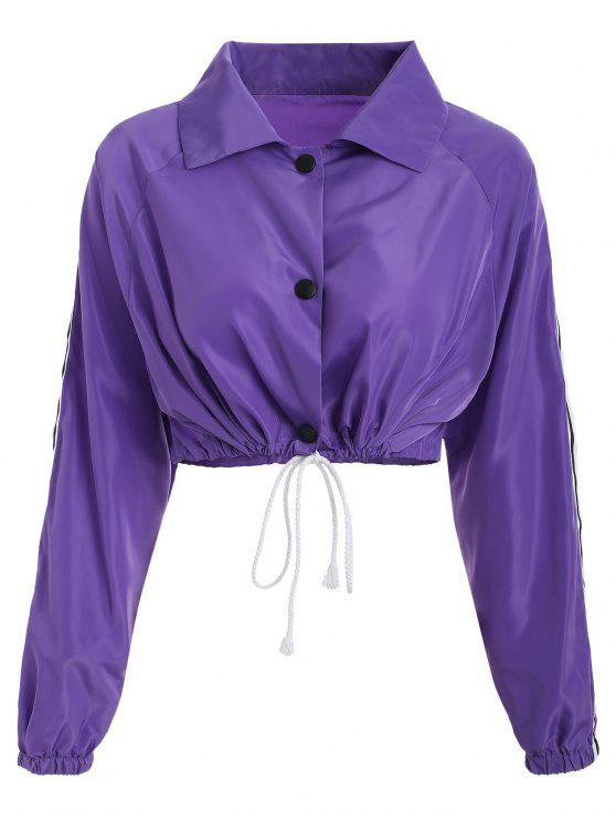 ladies Stripes Patched Drawstring Jacket - LOVELY PURPLE S