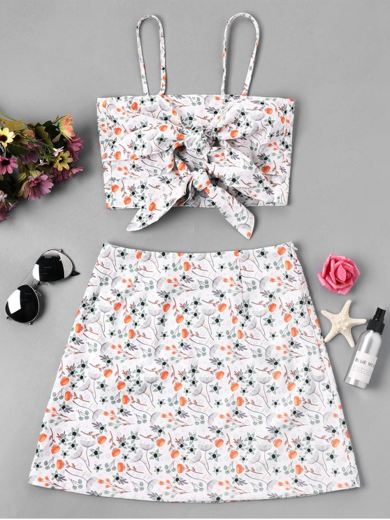 trendy Knot Floral Cami Crop Top and Skirt - WHITE XL