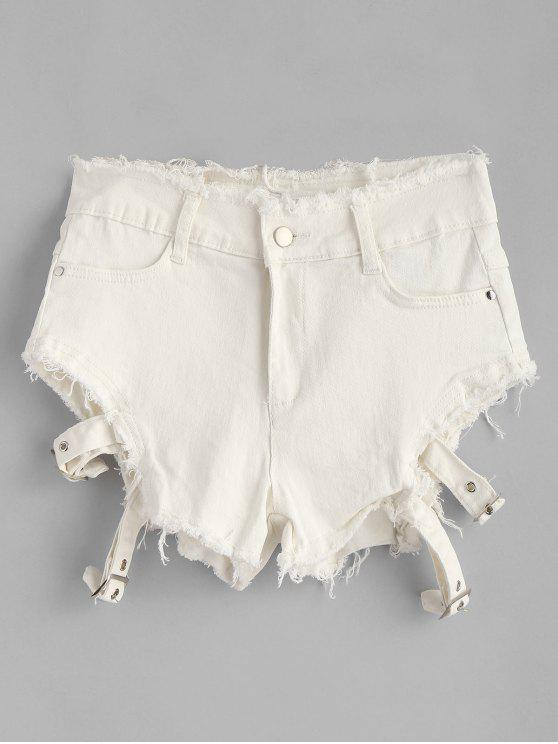 Ausgefranste Denim Shorts Mit Reißverschluss - Weiß L