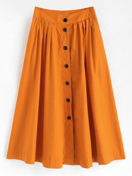 hot Button Up Tea Length Skirt - CANTALOUPE L