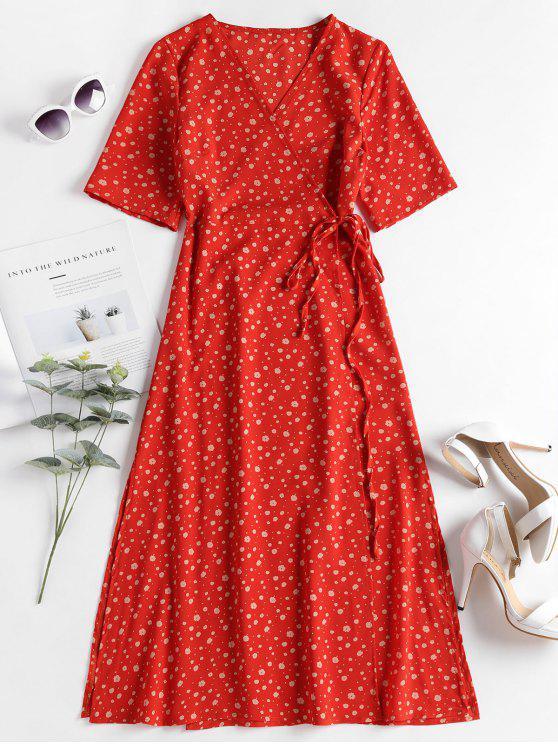 فستان بنمط لف - برتقالية زاهية L