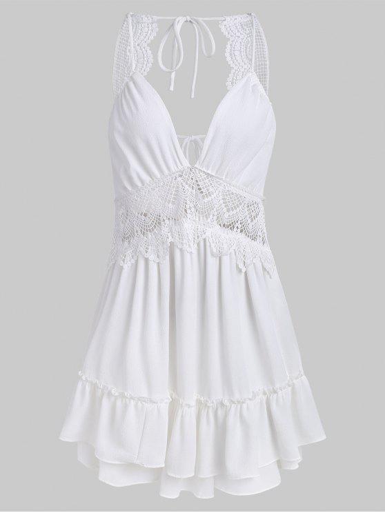 shop Tier Ruffles Openwork Mini Dress - WHITE S