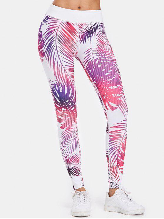 Calzas deportivas de compresión de gimnasio de hoja de palma - Rosa Brillante L