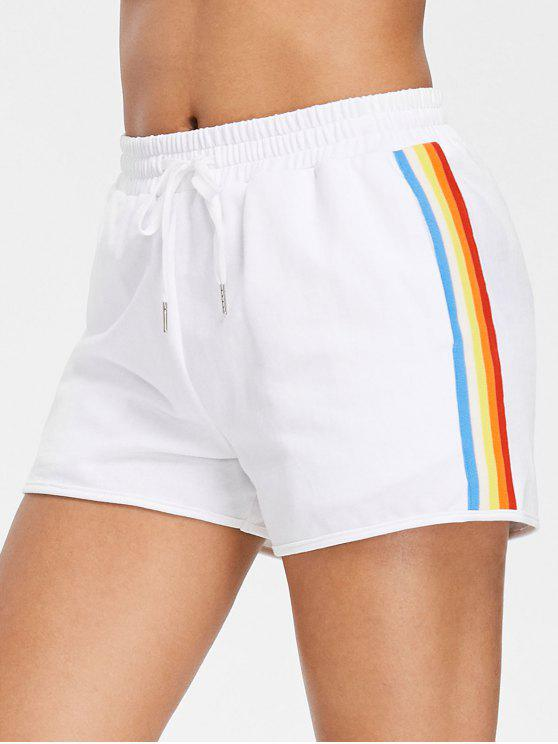 Pantaloncini A Vita Alta A Righe Laterali Di Arcobaleno - Bianco M